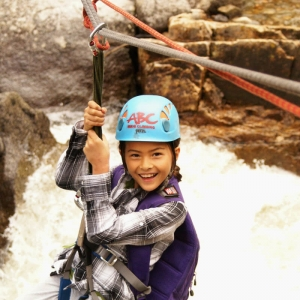 Zip-lining at summer camp in Boulder, CO